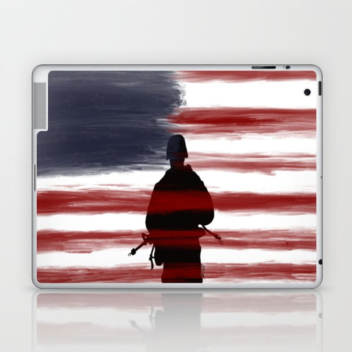 Soldier and Flag - Patriotic Laptop & iPad Skin