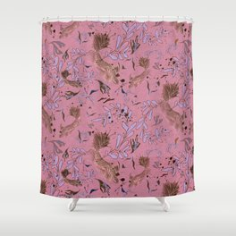 Pink fish pond Shower Curtain