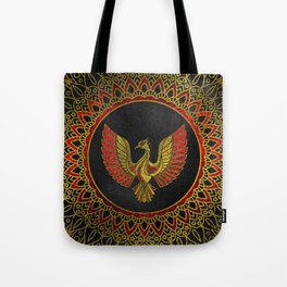Gold and red Decorated Phoenix bird symbol Tote Bag
