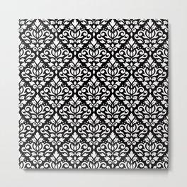 Scroll Damask Pattern White on Black Metal Print