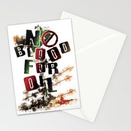 NO BLOOD FOR OIL Stationery Cards
