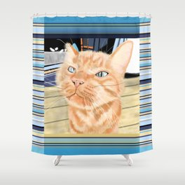 Oliver the Sniffy Red Tabby Cat Shower Curtain