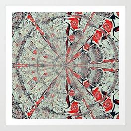 Red Blueish Wheel Mirror Art Print
