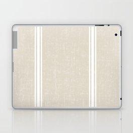 White Stripes on bone color background French Grainsack Distressed Country Farmhouse Laptop & iPad Skin