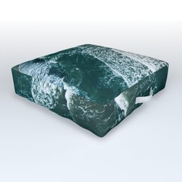 Wavy Waves on a stormy day Outdoor Floor Cushion