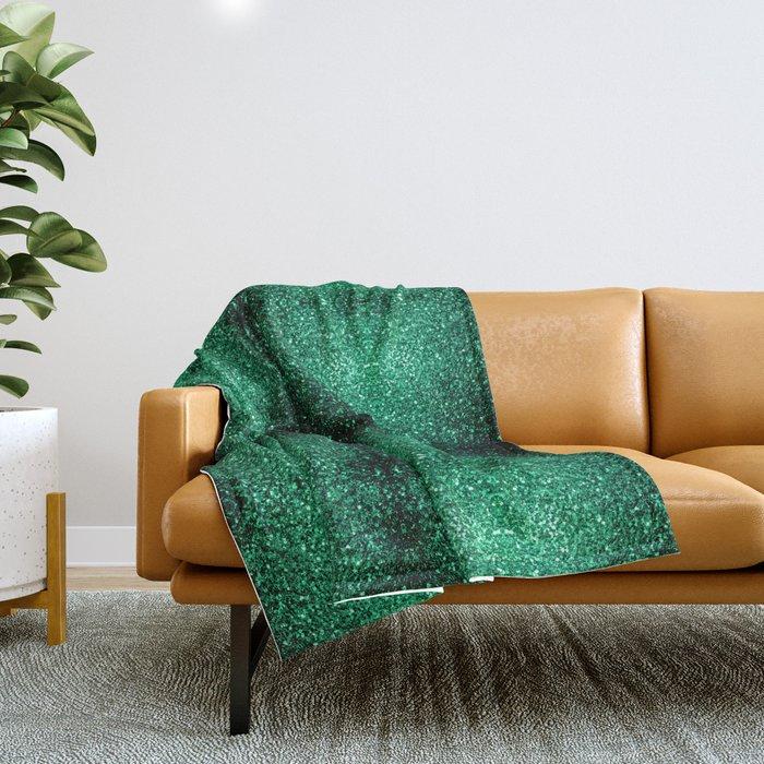 Beautiful Emerald Green glitter sparkles Throw Blanket