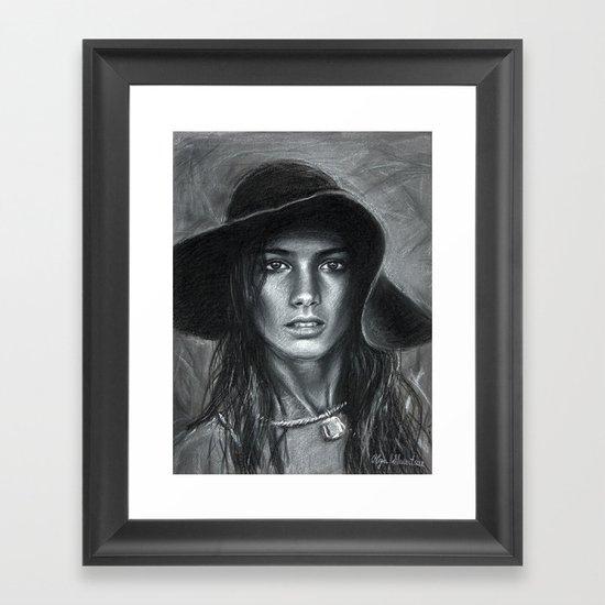 Hat Girl Framed Art Print