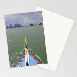Thai boat and limestone islands Stationery Cards