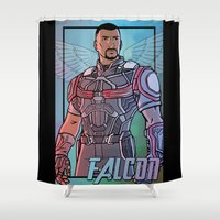 falcon Shower Curtains featuring Falcon by DeanDraws