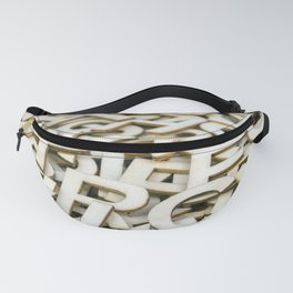 Pile of Mixed Wooden Letters Close Up Fanny Pack