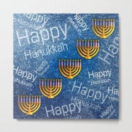 Happy, Happy Hanukkah Menorah Pattern Metal Print