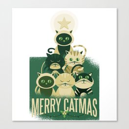 Cat Christmas Tree Merry Catmas Canvas Print