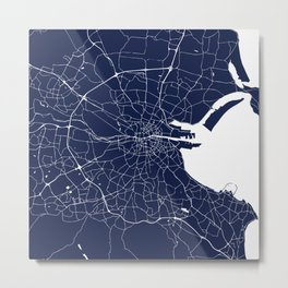 Dublin Street Map Navy Blue and White Metal Print