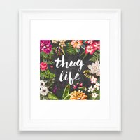 botanical Framed Art Prints featuring Thug Life by Text Guy