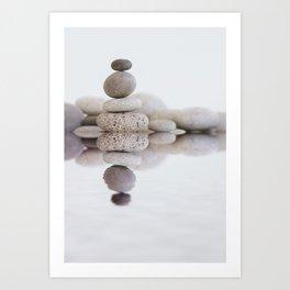 Stone Balance pebble cairn and water Art Print