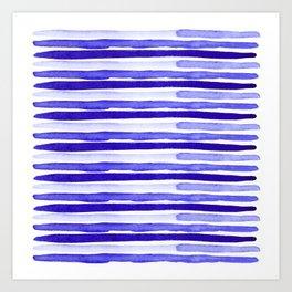 Bue Watercolour Stripes Art Print