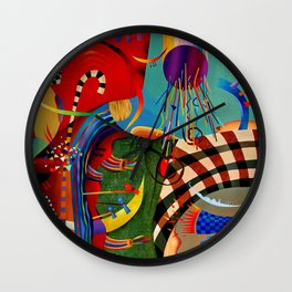 Red green transcendental abstraction Wall Clock