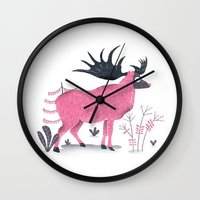 elk Wall Clocks featuring Elk by Rodrigo Fortes