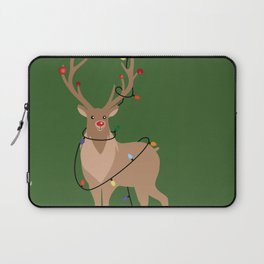 Rudolph Red Nosed Reindeer happy with his Favorite Christmas Lights Laptop Sleeve