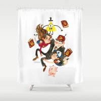 gravity falls Shower Curtains featuring Gravity Falls Hug by Super Group Hugs