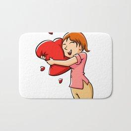 Girl hugging heart. Bath Mat