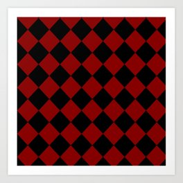 Red and Black Check Art Print