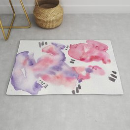 14 | 190304 Watercolour Painting Abstract | Pink Blue Purple Rug