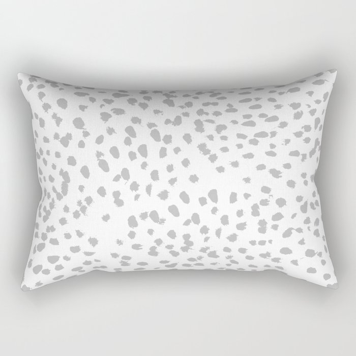 grey spots minimalist decor modern gifts grey and white polka dot brushstroke painting Rectangular Pillow
