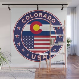 Colorado, Colorado t-shirt, Colorado sticker, circle, Colorado flag, white bg Wall Mural