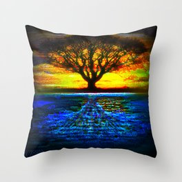 Duality Tree of Life Reflection Moon & Sun Day & Night Painting by CAP Throw Pillow
