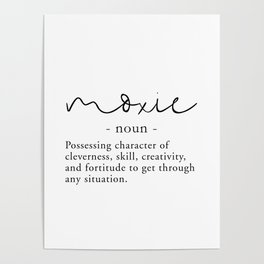 Moxie Definition - Minimalist Black Poster