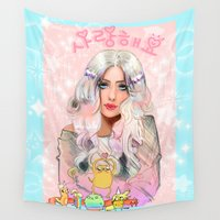 puppies Wall Tapestries featuring Lady Rainicorn, Jake, & the 5 puppies by Sara Eshak