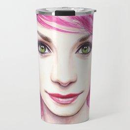 Pink Hair Green Eyes Beautiful Girl Travel Mug