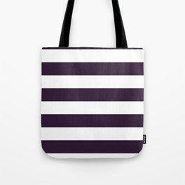 Horizontal Stripes - White and Dark Purple Tote Bag