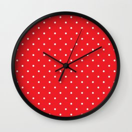 Small White Polka Dots with Red Background Wall Clock