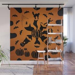 Zombie Black Cat Bat Spider Ghost Pumpkin Wall Mural