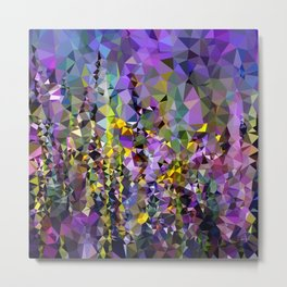 Abstract flowers purple low poly Metal Print
