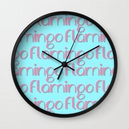 flamingo flamingo flamingo // pink + blue Wall Clock