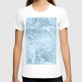 Enigmatic Light Blue Marble #1 #decor #art #society6 T-shirt