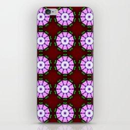 Purple White Flower on Burgundy Pattern iPhone Skin