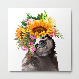 Sloth with Sunflower Crown Metal Print