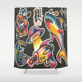 Space Flash Shower Curtain