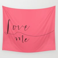 calligraphy Wall Tapestries featuring Love Me calligraphy by Seven Roses
