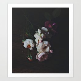 English Roses Still Life - Dark Number Two Art Print