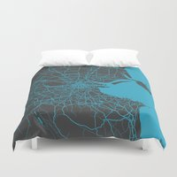 dublin Duvet Covers featuring Dublin map by Map Map Maps