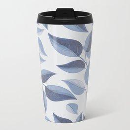 blue leaves Metal Travel Mug