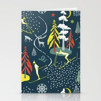 skiing Stationery Cards featuring Retro Skiing  by beach please