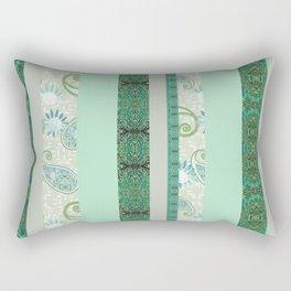 French Stripe Green/Grey Rectangular Pillow