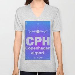 CPH Copenhagen airport blue Unisex V-Neck