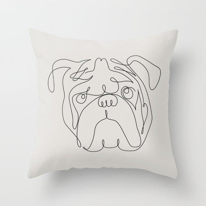 One Line English Bulldog Throw Pillow